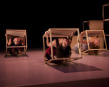 Trio backbends in cubes danceability by Michael Kevin Daly